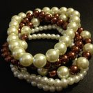 Brown & White Pearl Bracelet Set