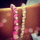 Pink & White Rhinestone Bracelet Set