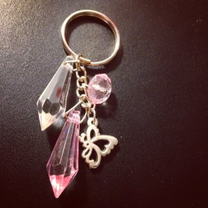 Pink & White Butterfly Keychain