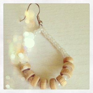 Boho White & Wood Earrings