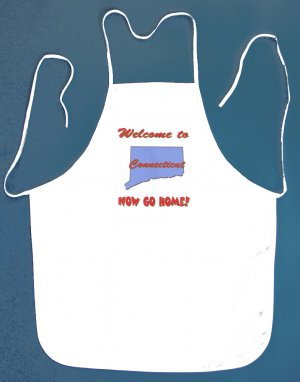 Welcome to Connecticut Now Go Home Kitchen BBQ Barbeque Bib Apron White w/2 Pockets New