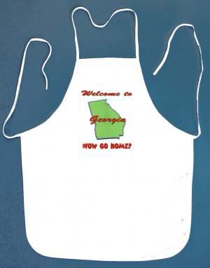 Welcome to Georgia Now Go Home Kitchen BBQ Barbeque Bib Apron White w/2 Pockets New