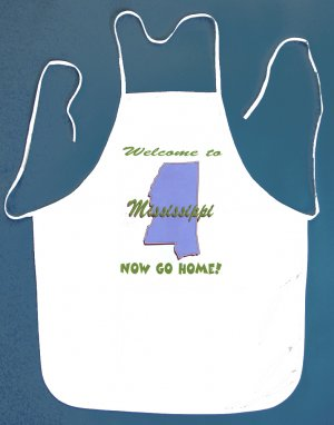 Welcome to Mississippi Now Go Home Kitchen BBQ Barbeque Bib Apron White w/2 Pockets New