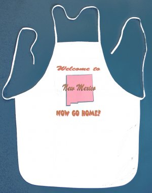 Welcome to New Mexico Now Go Home Kitchen BBQ Barbeque Bib Apron White w/2 Pockets New
