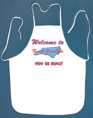 Welcome to North Carolina Now Go Home Kitchen BBQ Barbeque Bib Apron White w/2 Pockets New