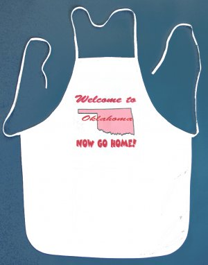 Welcome to Oklahoma Now Go Home Kitchen BBQ Barbeque Bib Apron White w/2 Pockets New