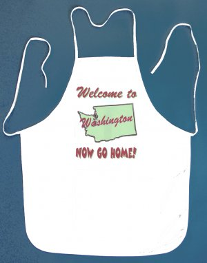Welcome to Washington Now Go Home Kitchen BBQ Barbeque Bib Apron White w/2 Pockets New