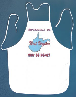 Welcome to West Virginia Now Go Home Kitchen BBQ Barbeque Bib Apron White w/2 Pockets New
