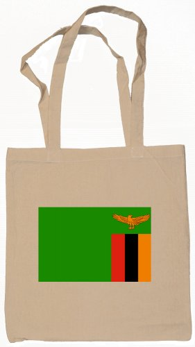 Zambia Zambian Flag Souvenir Canvas Tote Bag Shopping School Sports Grocery Eco