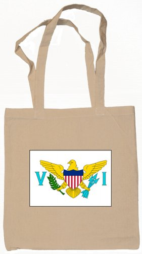 US Virgin Islands Flag Souvenir Canvas Tote Bag Shopping School Sports Grocery Eco