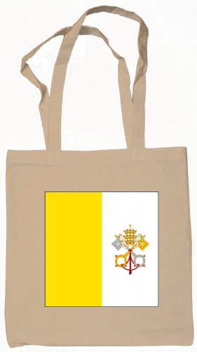 Vatican City Flag Souvenir Canvas Tote Bag Shopping School Sports Grocery Eco