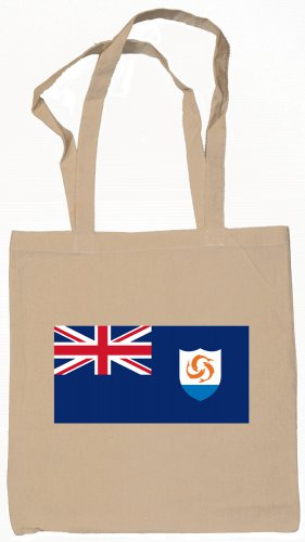 Anguilla Anguillan Flag Souvenir Canvas Tote Bag Shopping School Sports Grocery Eco
