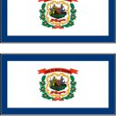2 West Virginia State Flag Stickers Decals Sticks to Almost Anything