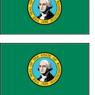 2 Washington State Flag Stickers Decals Sticks to Almost Anything