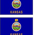 2 Kansas State Flag Stickers Decals Sticks to Almost Anything