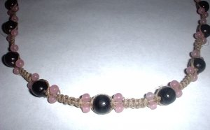 Pink and Black Bead Hemp Choker Necklace