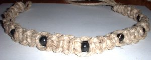 Thick Hemp Necklace Choker with Black wood beads