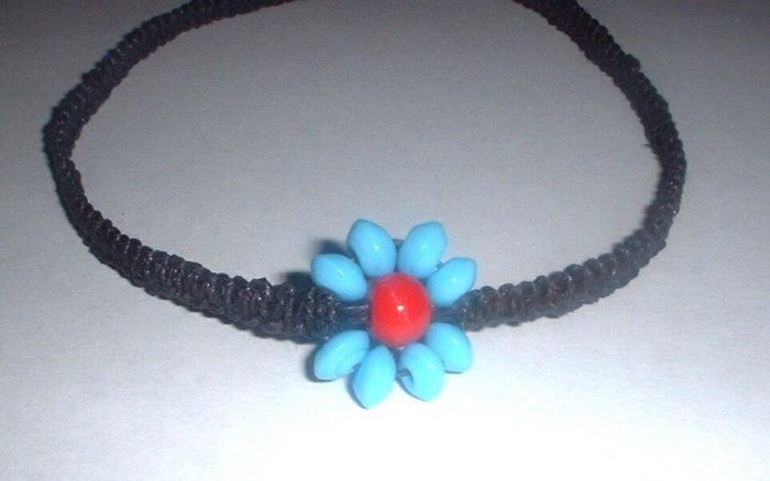 Black hemp Turquoise and Red Flower Necklace