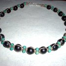 Green and Black Wood Bead Hemp Choker Necklace