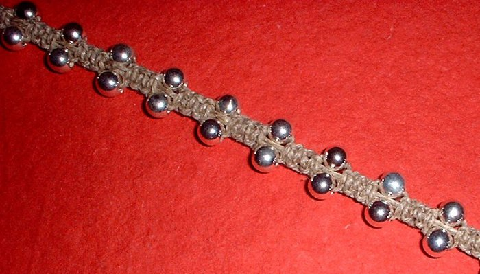 Hemp Choker Necklace with metallic beads