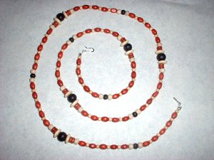 Long Wood Bead Necklace in Red White and Black