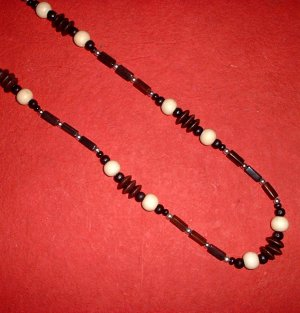 Long Wood and Metal Bead Necklace