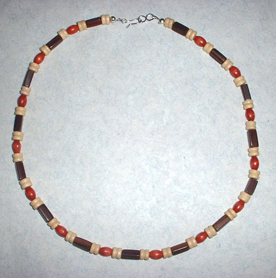 Brown Red and White Wood Bead Choker Necklace