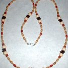 Long Wood Bead Necklace White Tan Brown and Red