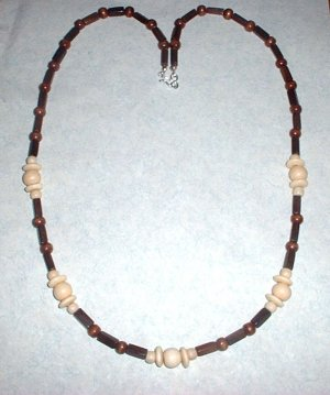 Long Brown and White Wood Bead Necklace