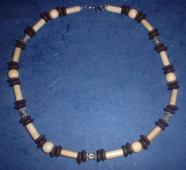 Wood and metal bead Neckalce choker Hemp