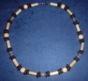 Wood and metal bead Neckalce choker Hemp