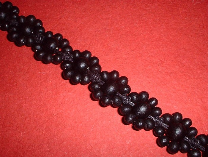 Black Flower Wood Bead Hemp Choker Necklace