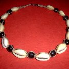 Hemp Necklace Choker with Cowrie Shells and Black Wood Beads