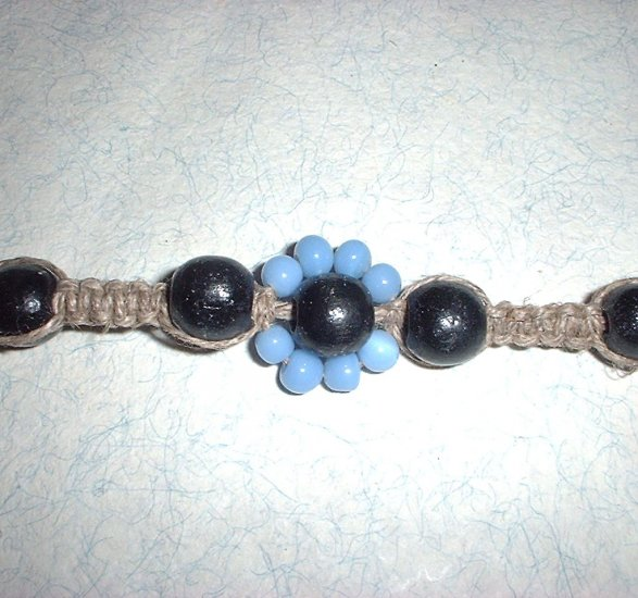 Hemp Jewelry Baby Blue Flower Choker Necklace Hippie