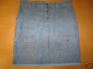 Womens RALPH LAUREN Denim Frayed Hem Jean Skirt 0