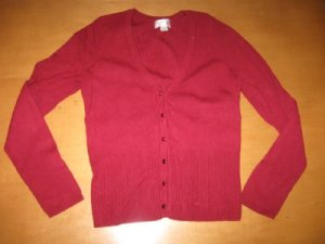 RED ANN TAYLOR LOFT JEWEL BUTTON CARDIGAN SIZE SMALL S