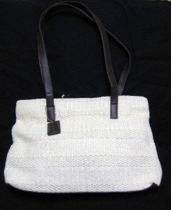 BEAUTIFUL IVORY KNIT STONE MOUNTAIN HANDBAG TOTE PURSE