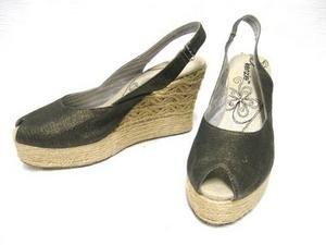 "Straw Wedge KENZIE ""Feature"" Peep Toe Sandals 8"