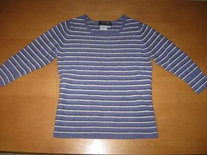 100% Cashmere Country Shop Striped 3/4 Sleeve Sweater S