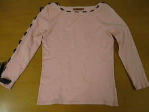 Pretty Pink BELLDINI Black Ribbon Trim Sweater Shirt S