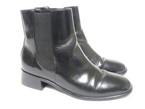 Black Leather TALBOTS Ankle Boots 6 1/2 AA Cute!