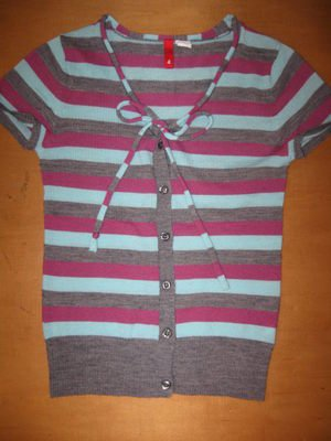 Womens H&M Striped Bow Lightweight Sweater Shirt Top 4