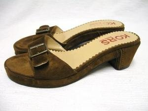 Brown Suede MICHAEL KORS Buckle Heels Sandals 6 M