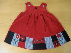 Red Corduroy Jumper Dress Hearts Flowers 18 Month CUTE!