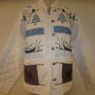Womens ORVIS Embroidered Quilted Cotton Coat Jacket M