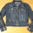 Womens GAP Black Jean Denim Puffy Sleeve Jacket Coat S