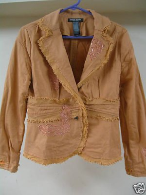 Pretty Peach Lacey Beaded BISOU BISOU Blazer Jacket 10