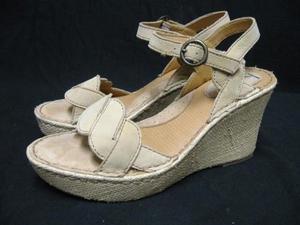 Woman BOC by BORN Straw Wedge Nubuck Sandals 9 M/W