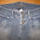 SILVER Stretch Flare Button Fly BUCKLE Jeans 25 / 31