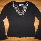 Womens Roxy EMbroidered Black Tunic Gauzy Shirt Top S